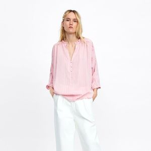 ZARA LARGE PINK STRIPED SHIRT WITH BUTTONS